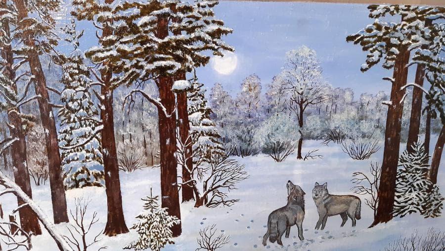 Волки в ночном лесу