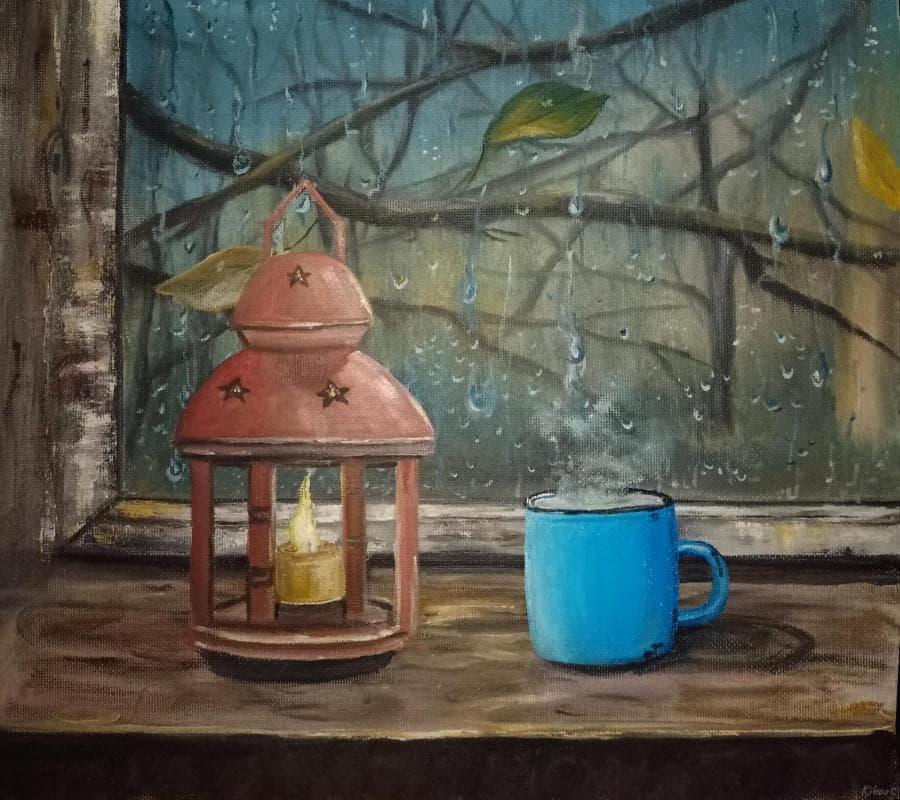 Уютный вечер окно, лампа и чай