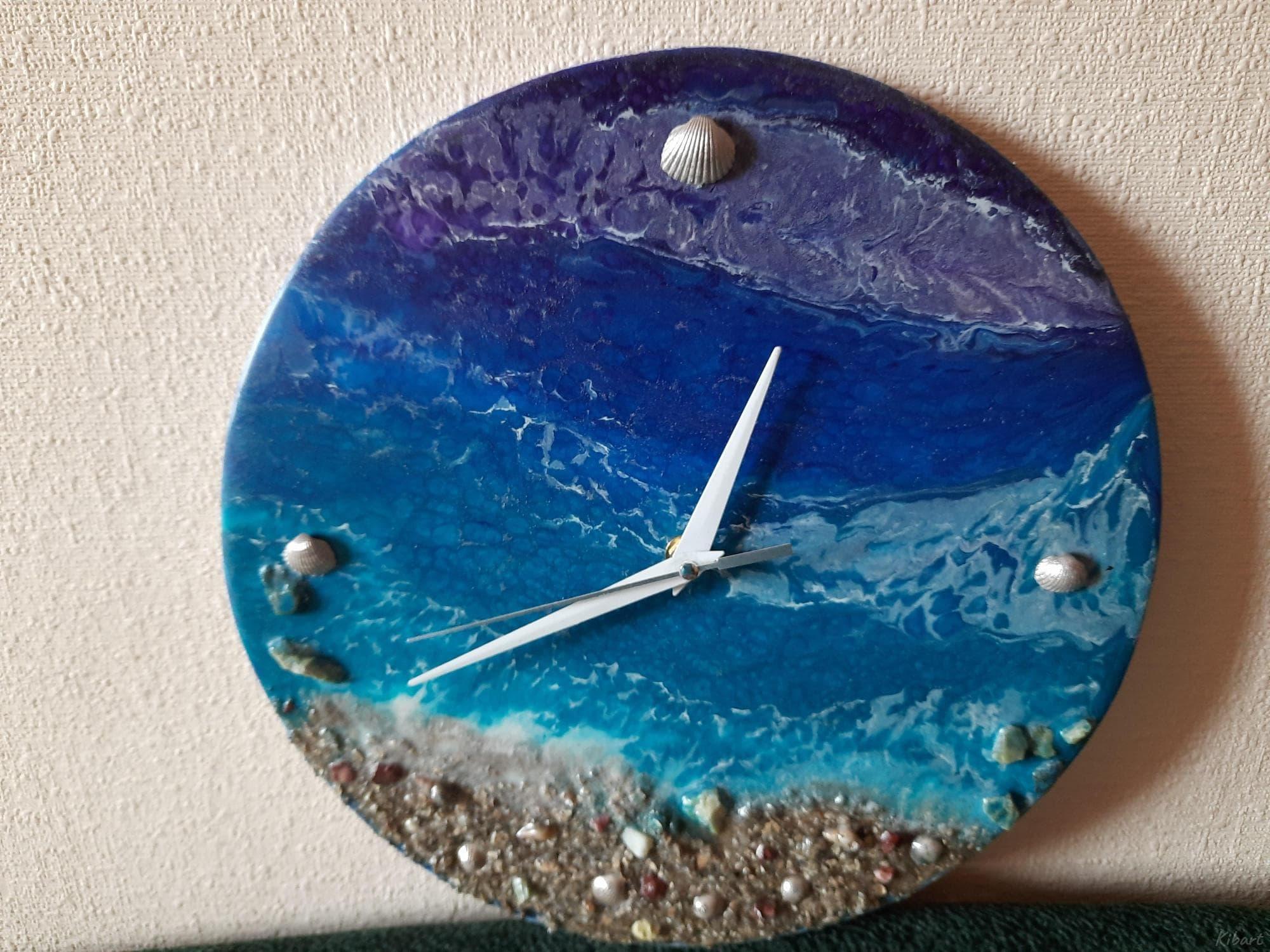 """Картина-часы """"Океан"""", эпоксидная смола - 1/2"""