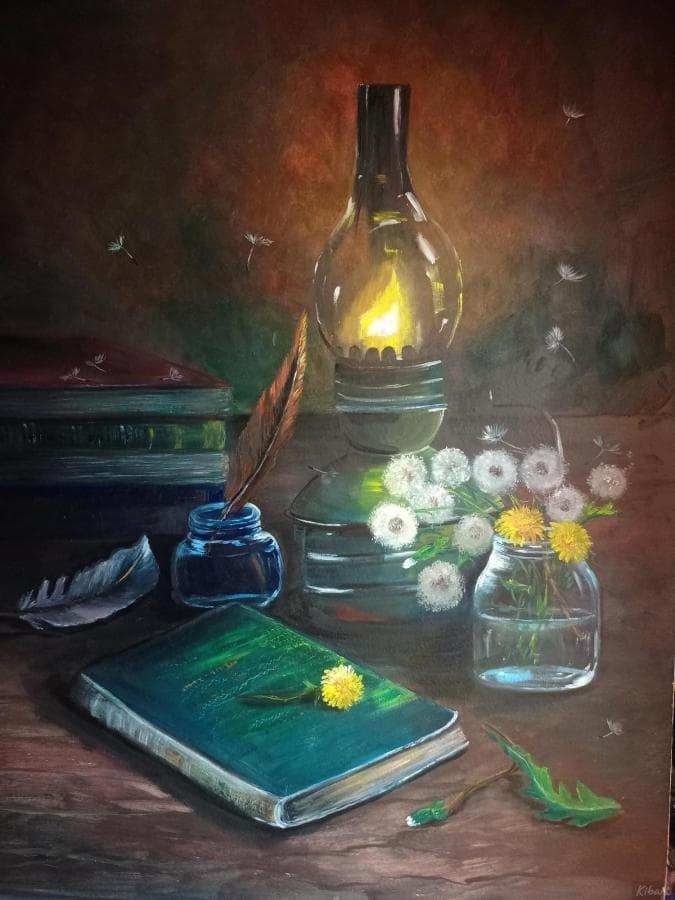 Натюрморт ретро лампа и книги