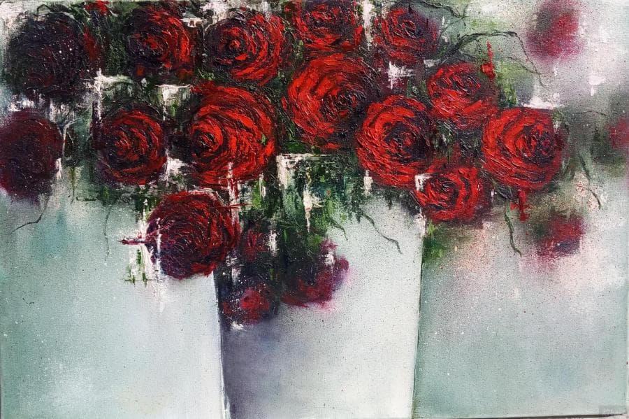 Розы в ведерке