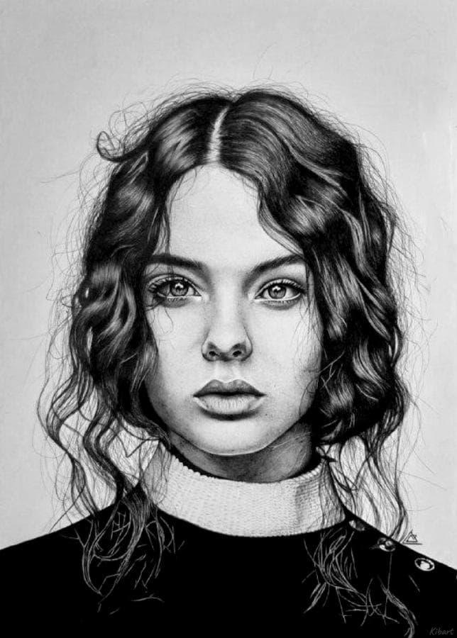 Портрет Девы Кассель шариковой ручкой