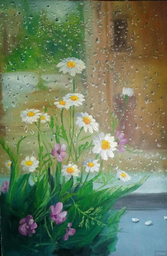 Летний дождик за окном и цветы