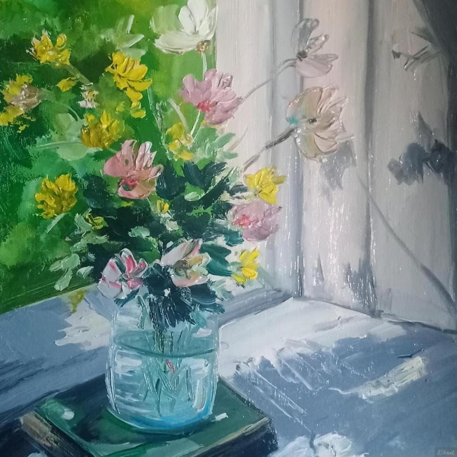 Солнечный день цветы окно