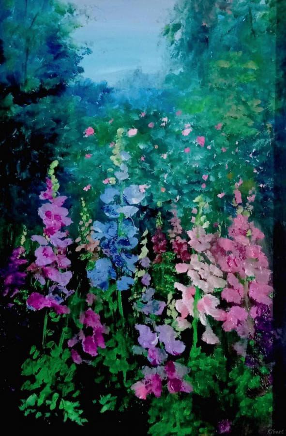 Дельфиниум Карина маслом цветы