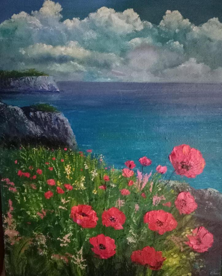 Море цветы горы небо живопись