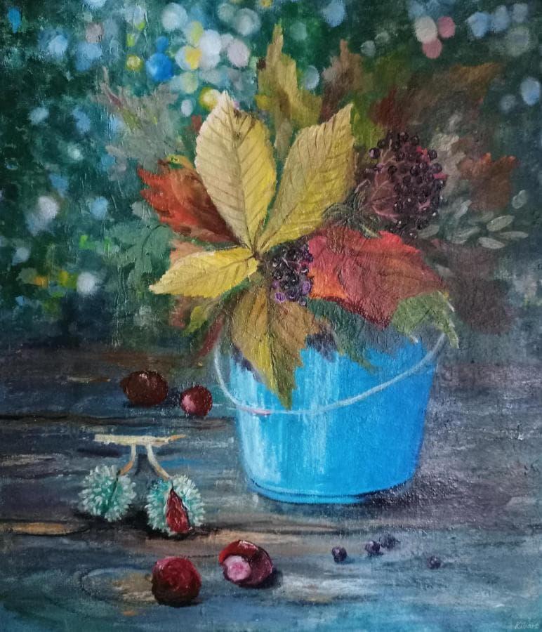 Осенний натюрморт каштаны