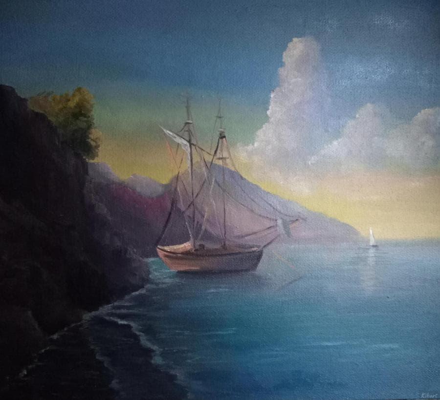 Морской пейзаж по мотивам Айвазовского