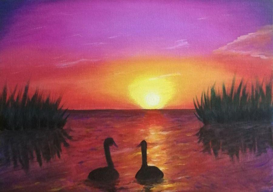 Лебеди на закате
