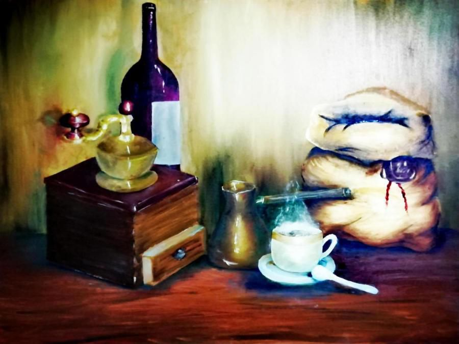 Натюрморт с кофе и вино