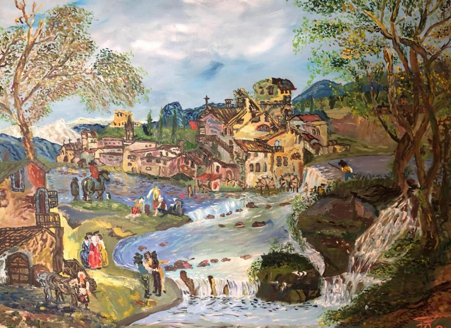Здания и люди у реки .