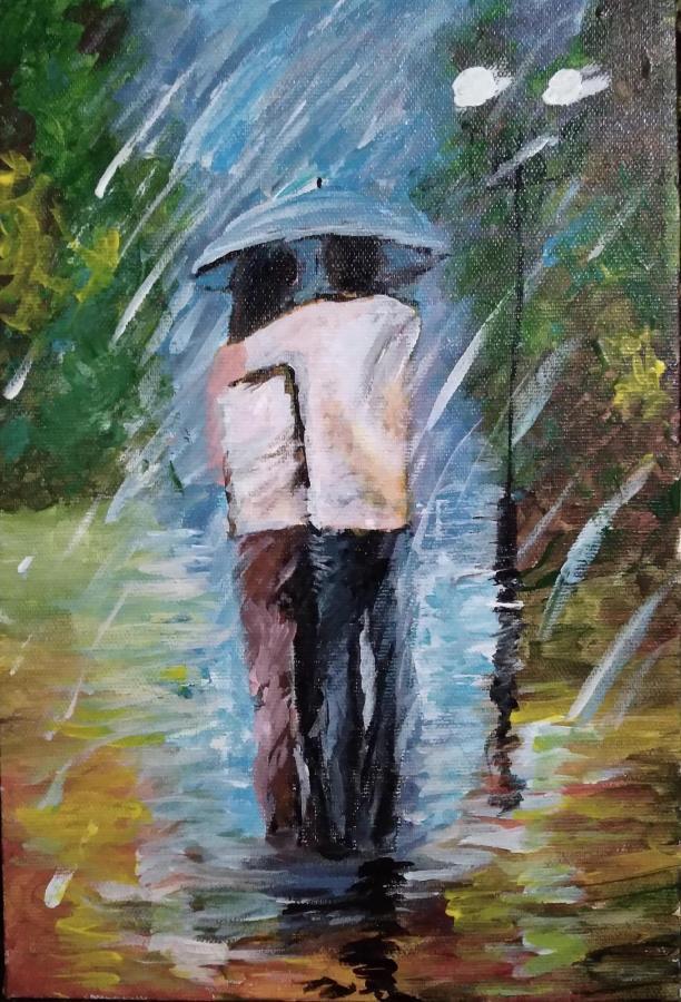 Пара под дождём