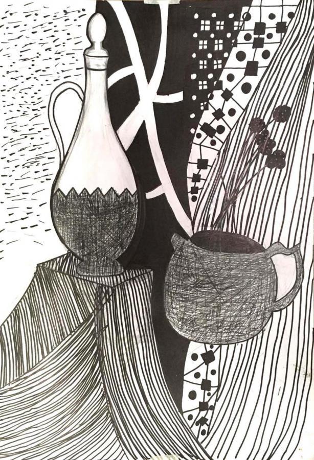 Натюрморт вазы и чайника