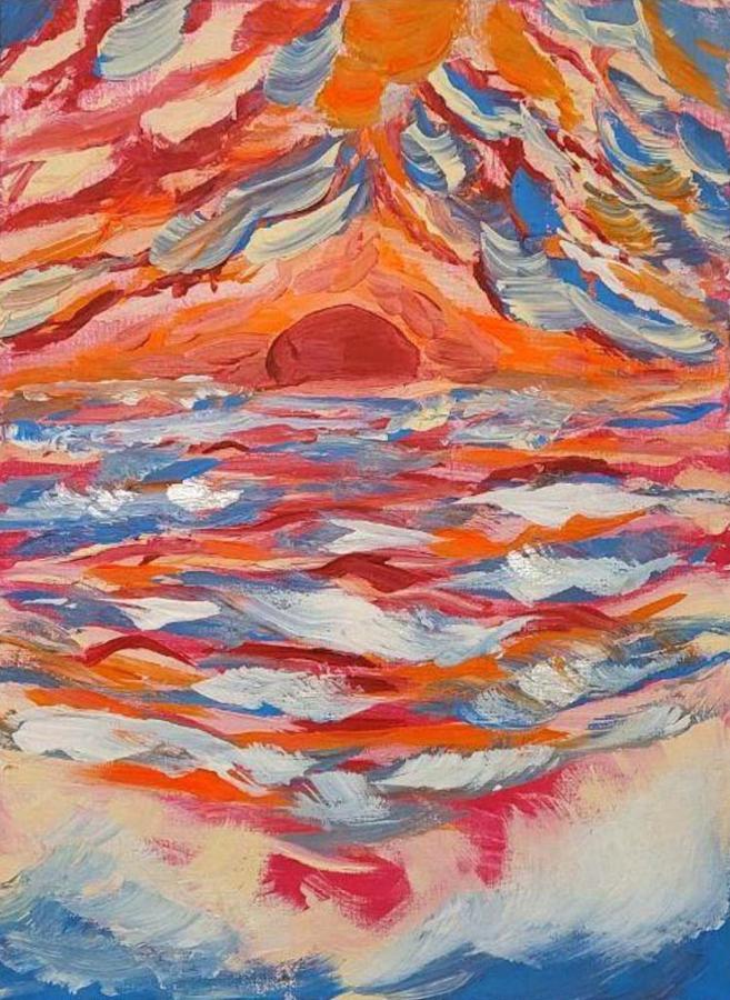 Закат солнца над бурным океаном.